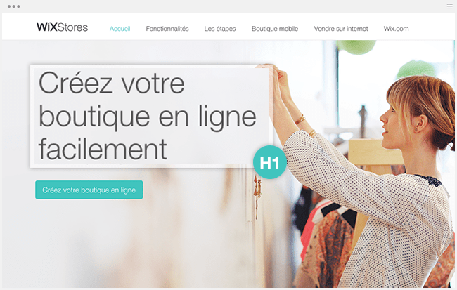 Page ecommerce Wix