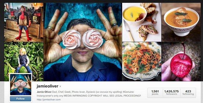 Compte Instagram du chef cuisinier Jamie Olivier
