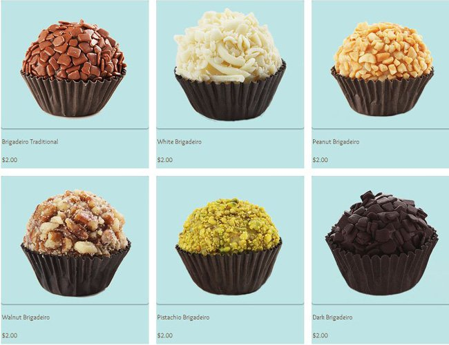 Capture d'écran d'un site de vente de Cupcakes