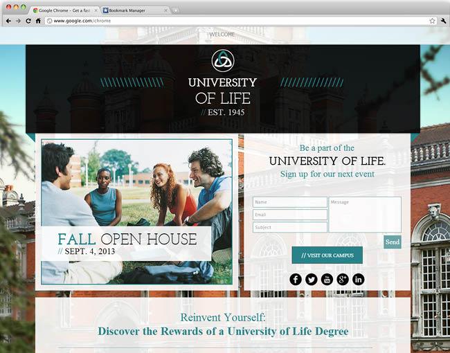Template WIx : University Landing Page