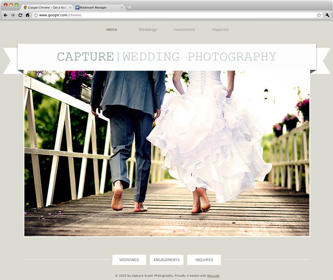 Template Wix - Wedding Photographer