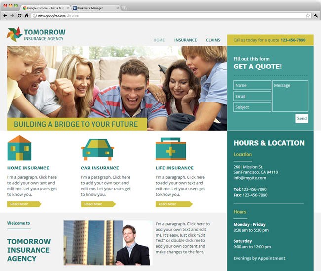Template Wix: Insurance Agency