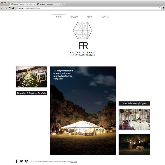 Template Wix : Luxury Party Rentals