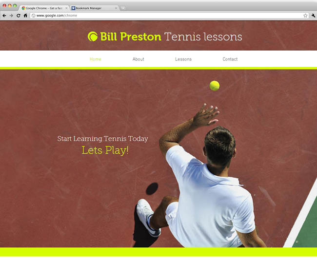 Template Wix :  Tennis instructor