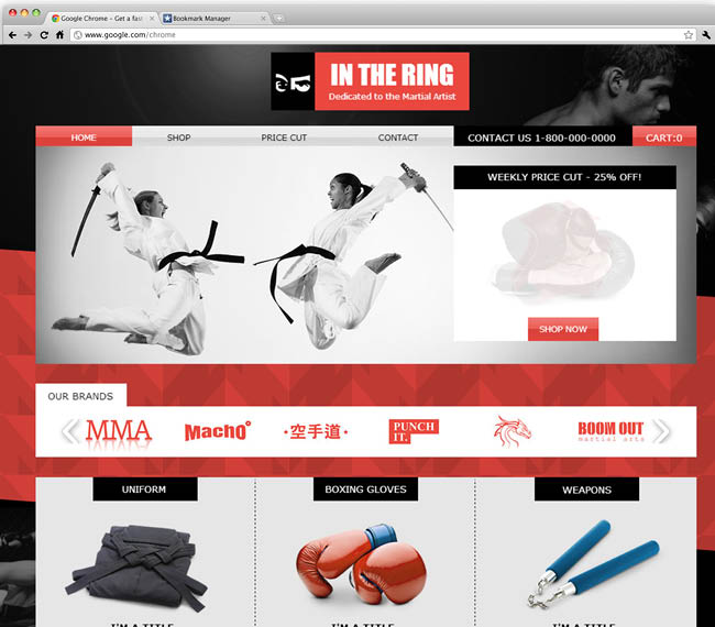 Template Wix : Martial Arts Store
