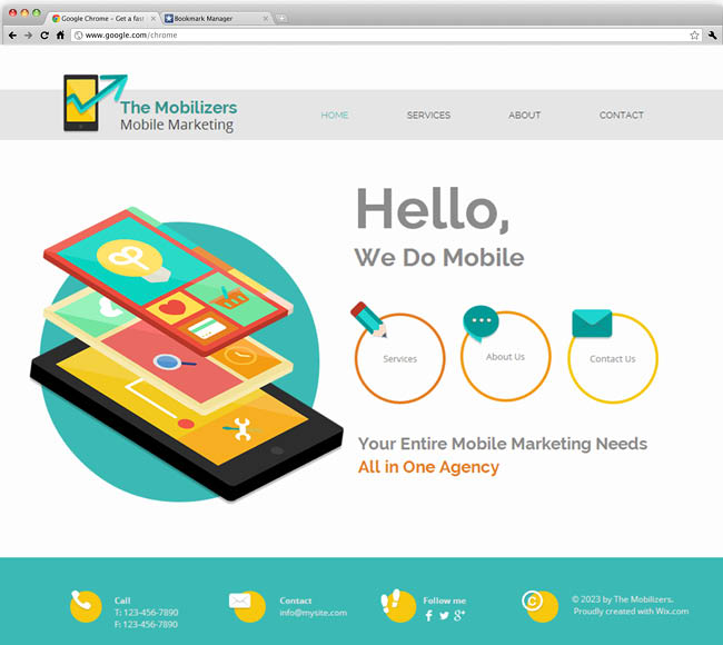 Template Wix : Mobile marketing