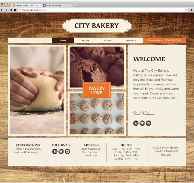 Template Wix : The Bakery