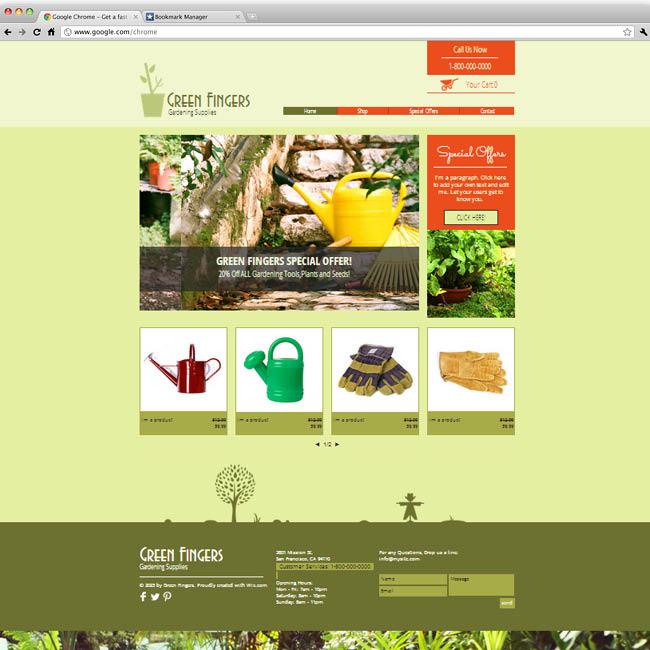 Template Wix :  Gardening supplies